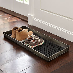 Crate Barrel Zinc Boot Tray with Liner
