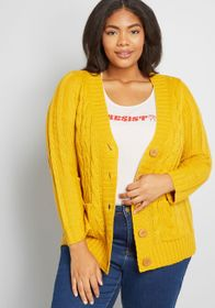 Fireside Cable Knit Cardigan in Marigold Honey