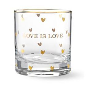 Gold Double Old-Fashioned Glass, Love is Love