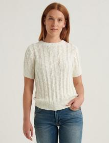Lucky Brand Lightweight Short Sleeve Cable Sweater