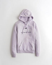 Hollister Applique Logo Hoodie, PURPLE