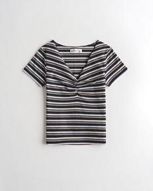 Hollister Ruched V-Neck T-Shirt, NAVY STRIPE
