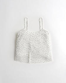 Hollister Pleated Chiffon Easy Crop Cami, WHITE PR