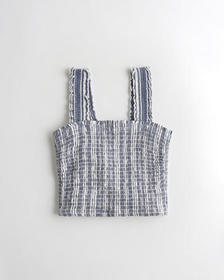 Hollister Smocked Crop Top, BLUE STRIPE