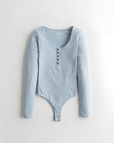 Hollister Henley Super Cheeky Bodysuit, LIGHT BLUE