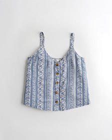 Hollister Button-Front Tank, BLUE PATTERN