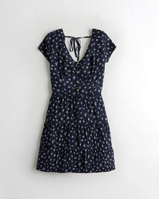 Hollister Tiered Button-Front Dress, NAVY PATTERN