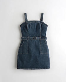 Hollister Stretch Belted Denim Mini Dress, DARK WA