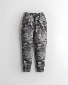Hollister Ultra High-Rise Woven Joggers, GREY CAMO