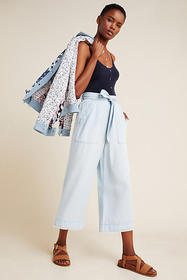 Anthropologie Cloth & Stone Cropped Wide-Leg Pants