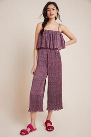 Anthropologie Suzanne Pleated Wide-Leg Jumpsuit
