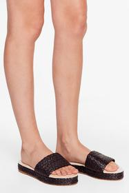 Nasty Gal Black Straw the Line Woven Platform Sand
