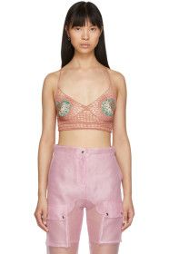 Supriya Lele - Pink Hand Knitted Saree Bra Top
