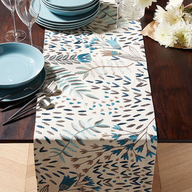 "Crate Barrel Milla 90"" Blue Embroidered Table Runn"