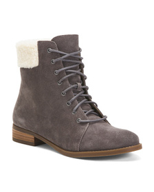 SOLE SOCIETY Cozy Lined Suede Lace Up Booties