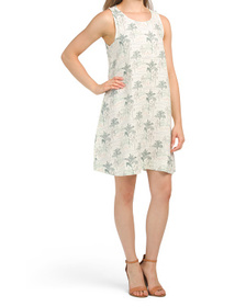 C&C CALIFORNIA Bali Palm Print Linen Dress