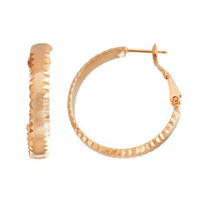 Womens 5th & Luxe Rose Gold Plated Half Round Hoop