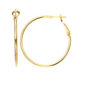 Womens 5th & Luxe Gold Plated Polished Hoop Earrin