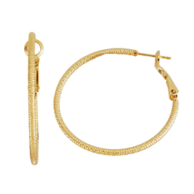 Womens 5th & Luxe Gold Plated Diamond Cut Hoop Ear