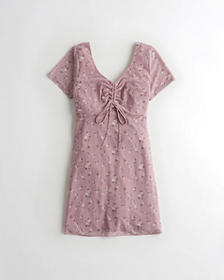 Hollister Cinch-Front Cap-Sleeve Dress, PURPLE FLO