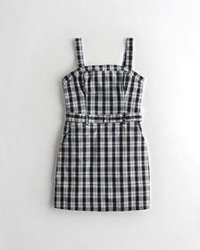 Hollister Stretch Belted Plaid Mini Dress, BLACK P