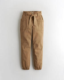 Hollister Stretch Ultra High-Rise Belted Joggers,