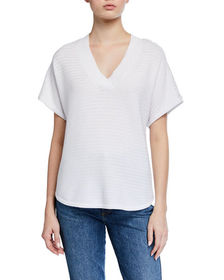 Neiman Marcus Lace-Sleeve V-Neck Top