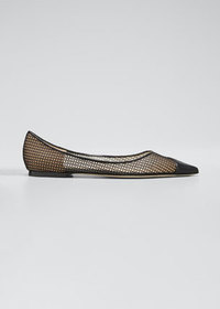 Jimmy Choo Love Leather Net Ballerina Flats