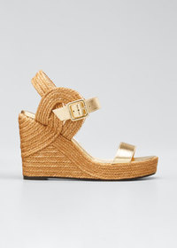Jimmy Choo Delphi Metallic Leather Espadrille Wedg