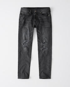 Ripped Skinny Taper Jeans, RIPPED DARK GREY WASH