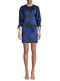 Cynthia Rowley Peony-Print Stretch-Brocade Mini Dr