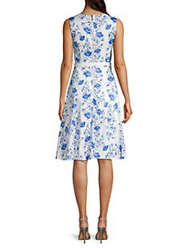 Karl Lagerfeld Belted Floral Flare Dress