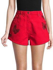 Valentino Butterfly Embellished Denim Shorts