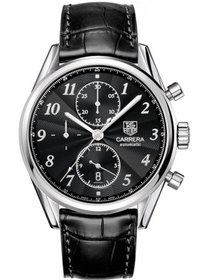 Tag Heuer Carrera Black Dial Leather Strap Men's W