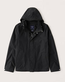 Nylon-Blend Jacket, BLACK