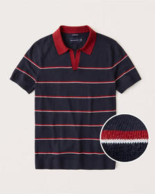 Cotton-Silk Blend Johnny Collar Knit Polo, NAVY BL