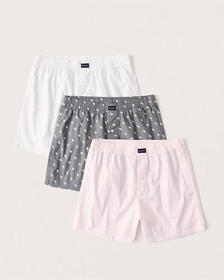 3-Pack Woven Boxers, WHITE-GREY-PINK