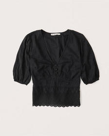 Lace Eyelet Button-Up Blouse, BLACK