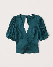 Satin Bow-Back Blouse, TEAL