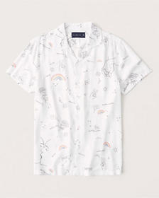 Pride Short-Sleeve Camp Collar Button-Up Shirt, WH