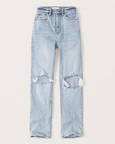 '90s Ultra High Rise Straight Jeans, LIGHT RIPPED