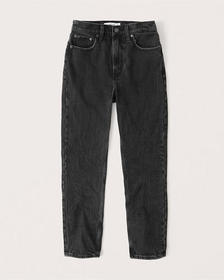 High Rise Mom Jeans, WASHED BLACK
