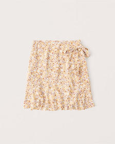 Ruffle Wrap Mini Skirt, YELLOW FLORAL