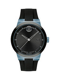 Movado Stainless Steel & Silicone-Strap Watch BLAC
