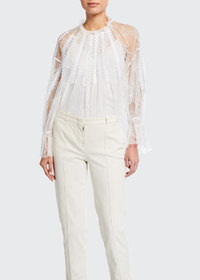 Chloe Chantilly Lace Frilled Blouse