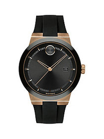 Movado Bold Stainless Steel & Silicone Watch BLACK
