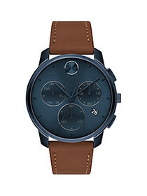 Movado Bold Stainless Steel & Leather-Strap Chrono