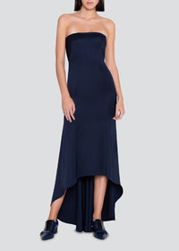 Akris Stretch Silk Strapless High-Low Dress