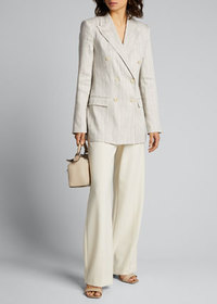 Theory Striped Double-Breasted Tailored Linen Jack