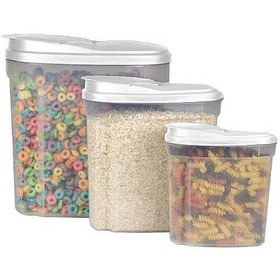 Home Basics 3 Piece Plastic Cereal Container